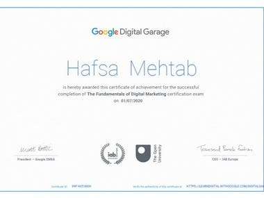 I have successfully completed Fundamentals of Digital Marketing course by Google. My certificate number is 9XF HU5 MGH. You can check certificate verification at https://learndigital.withgoogle.com/digitalgarage/validate-certificate-code