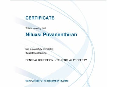 Completed a Distance Learning Program offered by WIPO. (World Intellectual Property Organization)