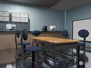 3d office scene created in blender for joke videos.