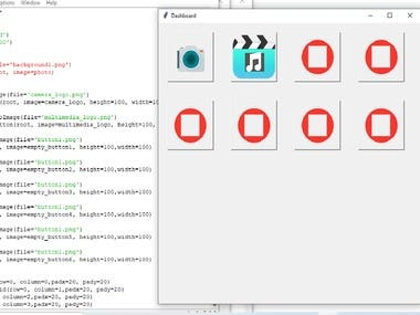 Design a GUI for Music player and camera open button for a client.  Using Tkinter python library.