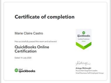 Passed the Quickbooks ProAdvisor Certification