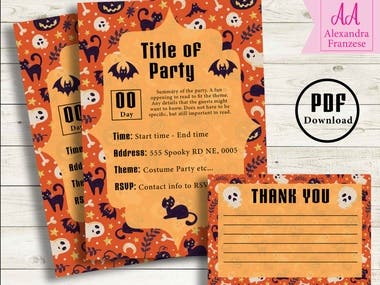 Cute downloadable halloween invitations.