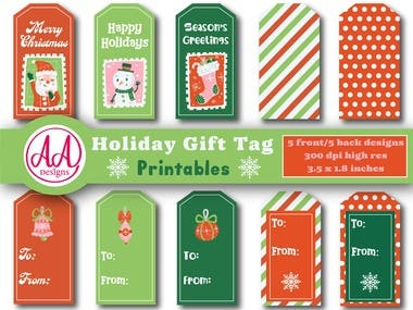 Cute Christmas gift tag designs for the holidays. Available in my Esty shop AllyArtStudios.