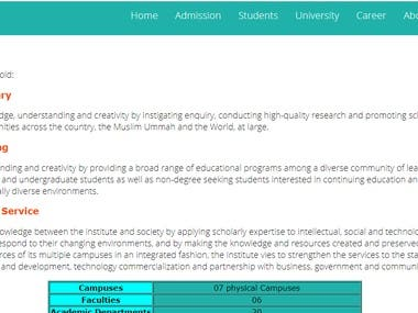This is a Php based University website built by using css,javascript,html and php as backend. I used MySql Database for storing student infrmation