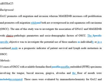 Proofreading a Research Paper in medical field: Combined expression of G12 and MAGED4B associated with poor prognosis in OSCC