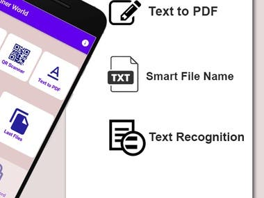 Scan pages and create PDF, scan text to PDF, QR scanner  App link :   https://play.google.com/store/apps/details?id=com.mypocketfriend.scannerworld