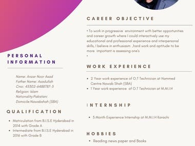 Hello, here I am providing you a Professional Resume, I have design lots of Resume for my friends I am working since 2 year, I design a suitable and unique resume for you also i will complete your work within 2 hours so furthermore you may contact me. Thank you