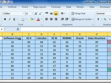 Here is the sheet of Data Entry