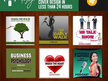Hi , My name is Raazia Sandhu.  Get an Attractive Podcast Cover Art That Will Make You Want to Click. Podcast cover art is a very important piece of podcast marketing. I would like to be part of your project.  Let's create a high-end professional design worthy of your content. When we're done, you will see my love for designing and attention to detail in the final product.  What We Do for You  Professional iTunes podcast logo or cover art Ai, pdf, eps, jpeg, and png file format. Fast delivery Experienced designer Affordable and Best Price. VIP Customer Support. Satisfaction Guaranteed. Check out what I am offering in my gig.  Podcast Cover Design 1400px x 1400 px  1600px x 1600px AND 3000px x 3000px Size Multiple revisions Revisions Attention:        I don't offer cartoon design or bitmoji design in this gig. If you want the cartoon/bitmoji in the           design you have to send it as attachment to use in podcast cover art.  FEEL FREE TO PLACE AN ORDER NOW!