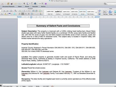 Have converted PDF into word, 150 pages. Content included Graphs, charts and pictures as well.