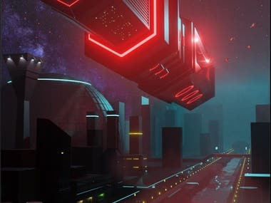 First concept draft of what will be a cyberpunk cityscape.
