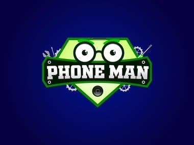 phone man contest winning logo