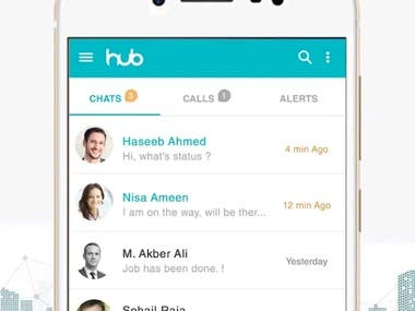 An instant messaging, audio and video call application  HUB aims at seamlessly integrated, mobile communication application that identifies the contacts on a user's mobile device and enables free text messaging/audio and video calling services. For better interaction and user experience, HUB intends to provide support for different media types such as audio and video