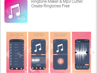 In this App:  --> MP3 file Crop is main Functionality. --> On main All Mp3 Files are listed.             --User can:               -play, crop, set ringtone and share file  -->  Contain Google Ads.