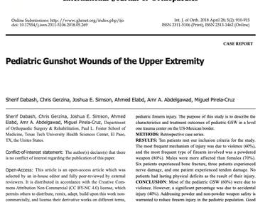 Pediatric Gunshot wounds of the upper extremity.