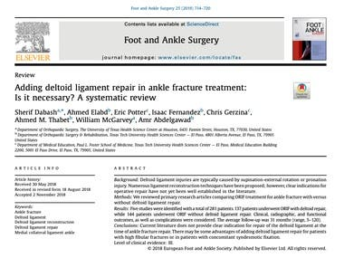 Adding deltoid ligament repair in ankle fracture treatment: Is it necessary? A systematic review.
