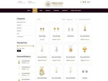 jewelry website with shop functionality