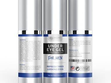 Label for a Men's eye product created for Niche Skincare Ltd You can find the product on Amazon: https://www.amazon.com/dp/B01HYI2AKI