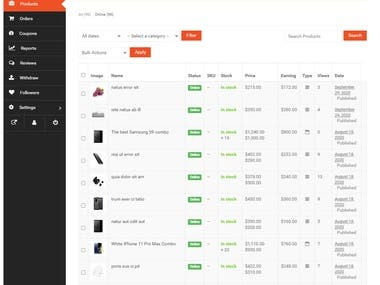 We built this multi vendor marketplace with separate dashboard for each vendor.