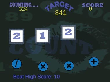 A game developed for kids to do basic calculations for randomly generated numbers using arithmetic operators.  Game play : A random number will be generated as target, the player has to tap the numbers and operators to perform proper calculations to reach to the target number. Each fulfilled target is rewarded with 10 scores.   less Show less text https://play.google.com/store/apps/details?id=com.shycat.countO
