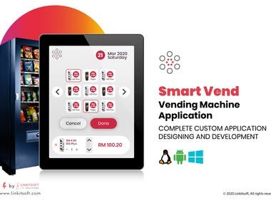 Hi.  We are providing a complete vending solution  it includes:  1. Mobile Application for User 2. Vending Software 3. Web portal for Data analysis For Admin