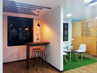 In 2019 I was hired to carry out the remodeling of the Administrative offices of Baxter Ecuador. A project in which they sought to completely transform the closed space, and turn it into a transparent space that would allow social interaction, the design was based on modernizing the image that Baxter used at that time, and combining it with the corporate colors of the brand. The spatial design, the furniture and lighting of the offices were carried out.