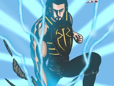 WWE fanart in comic style, drawing to colors in adobe photoshop