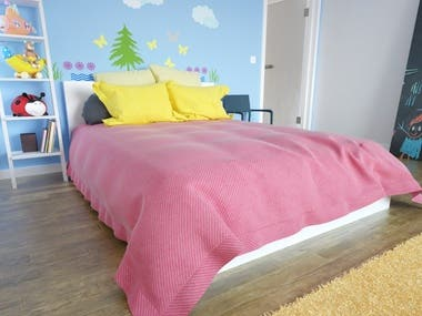 kid room interior design with 3ds max v-ray interior design 3d modeling 3d rendering CLO3d furniture design
