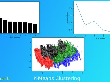 I have pre-processed the data-set removed the unnecessary columns and used Principal Component Analysis to eliminate columns with less co-relation and used Silhouette score to find the optimum number of clusters and finally trained a K Means algorithm with the count of clusters which has maximum Silhouette score and visualized the trained algorithm where the clusters are clearly visible.
