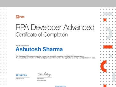 Attaching the Advanced RPA UIPATH CERTIFICATE, earned by clearing the advanced exam of uipath which showcases and confirms the technical ability of any RPA developer.