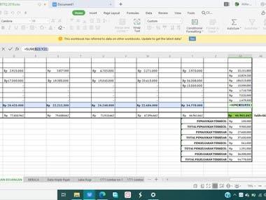 Data keuangan yang diperoleh diolah menggunakan excel sebelum dipindahkan konversi ke format word. Dalam pengolahan data, saya menggunakan syntaks SUM, MIN, MAX. Saya juga mampu menggunakan syntaks lainnya (jika dibutuhkan) seperti AVERAGE, VLOOKUP, HLOOKUP, SUMIF, IF, COUNTIF. Berikut terlampir portofolio data beserta syntaks yang digunakan untuk mengolah data.