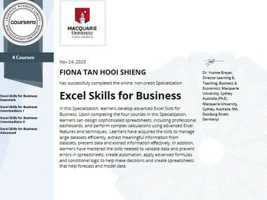 Successful completion of Macquarie University Excel Skills for Business Specialization.