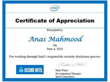 Certificate of Appreciation from Intel