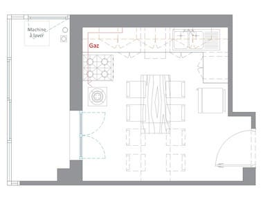 Floor and elevation plan of a kitchen