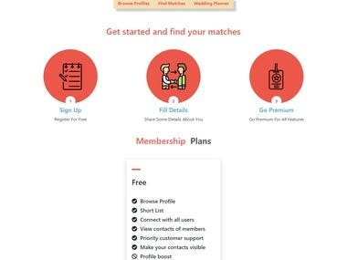 Full working matrimonial website with admin panel user management option. Member options are also avilable