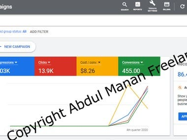 Below is the overview of google ads account that was created from scratch and complete management uptill now.