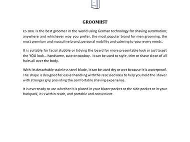 Product description for men grooming product, and women products for hair dryer, hair curler and hair styler.