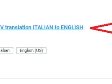 Italian CV To English Translation