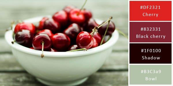 cherry color combination - bowl of cherries