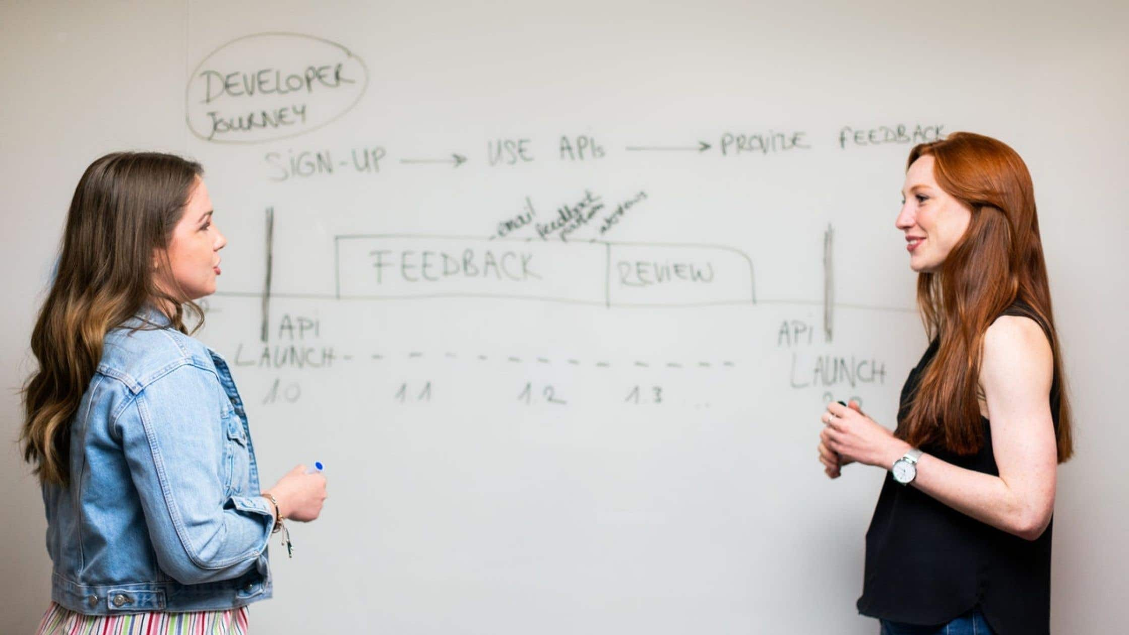 two female colleagues at whiteboard