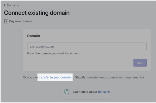 Shopify connect domain functionality