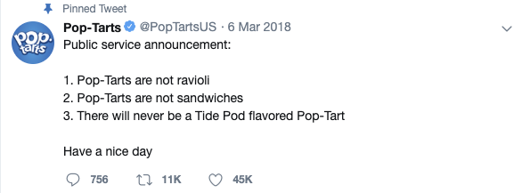 Pop-Tart Public Service Announcement tweet