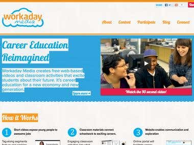 Mission of workaday media is to bring the day-to-day experience of working Americans to high school classrooms across the United States. Videos and activities expose students to the realities of various occupations and inform them of the pathways into the field.  We helped them by creating a website that provides all relavent information to students, and a customized wordpress theme which helps them manage the website easily.