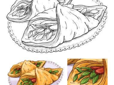 - traditional lineart drawing - digital color  Works for Barocle (Costa Rica)