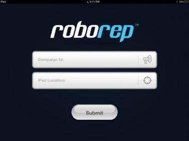 This app was basically for product demonstration on the stores/ shopping centers. The shopkeeper or store owners can create a campaign (for the product) from website and then  RoboRep App shows that product campaign with two customizable form ( for survey  or customer feedback about that product).  RoboRep iPad application generates a unique Advertising Campaign number to feed back into iPad to sync the selected and purchased advertising campaign information. App is dynamic and automatically updates content linked to campaign number on roborep.com.au  You Tube Video: http://youtu.be/3I7zc-J42do