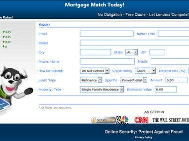 Web based application (PHP) to build mortgage lead input form that can be easily integrated into any website. The form collects information and stores into a MySQL database with an automatic submission to application processing system via web based API. The management panel lists details about a lead with export to CSV/TSV/XML format.