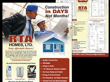 Flyer Design for a Real Estate construction group RTA. This project involves Page Layout, Image Selection and manipulation and content placement.