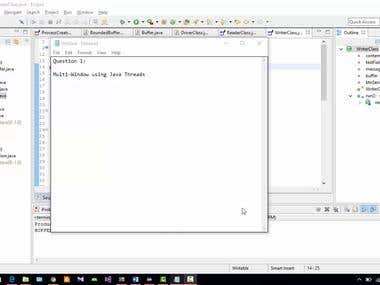 Multi-windows Java program using threads. User can write messages in on window which will save in a bounded buffer so other thread can retrieve that messages from bounded buffer and display.