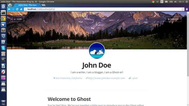 Ghost Blog User Profile page