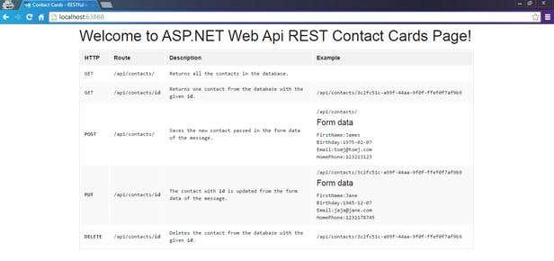 Contact Card Web API methods